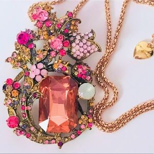 NEW! STUNNING CRYSTAL FLORAL SWEATER NECKLACE